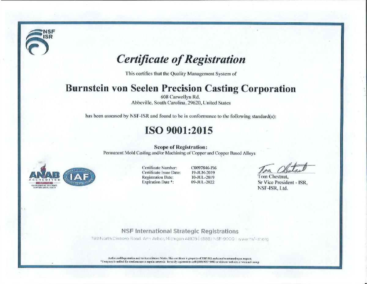 ISO Certificate - Burnstein Von Seelen - 2021